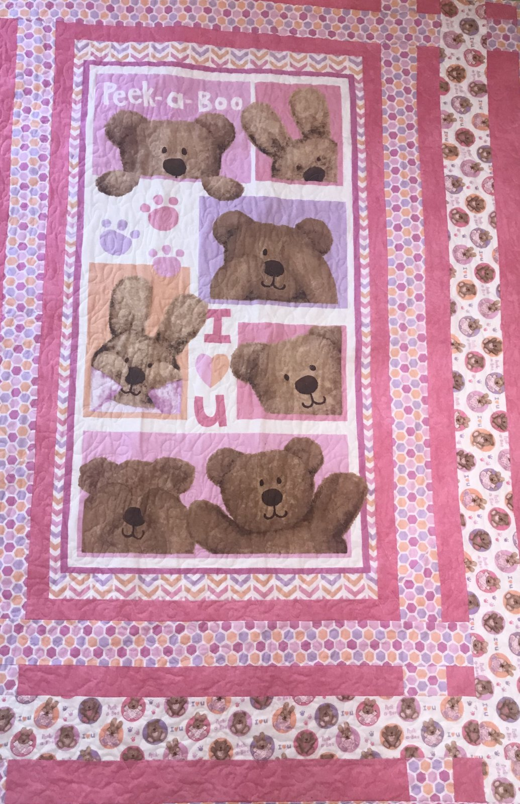 Peek A Boo- Pink Quilt/ Wall Hanging