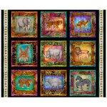 FBK 33 Quilting Treasures Serengeti Jungle Animal Patches 27762-J Black