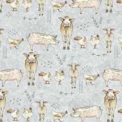 Quilting Treasures Farm Life 27677-K Farm Animal Light Grey '