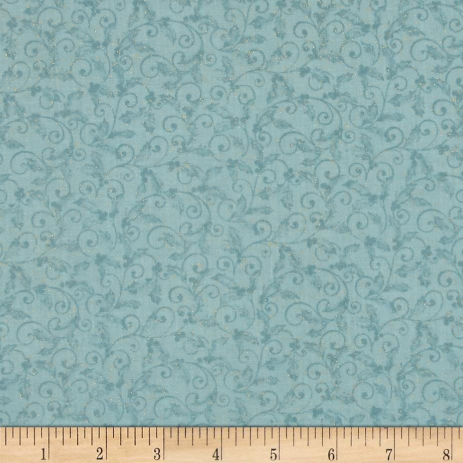 Chickadees and Berries Metallic Holly Scroll Light Blue `