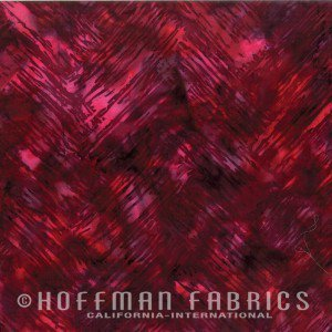 Hoffman Fabrics 2804-10 Chevron Brush Crimson Hoffman Batiks `'