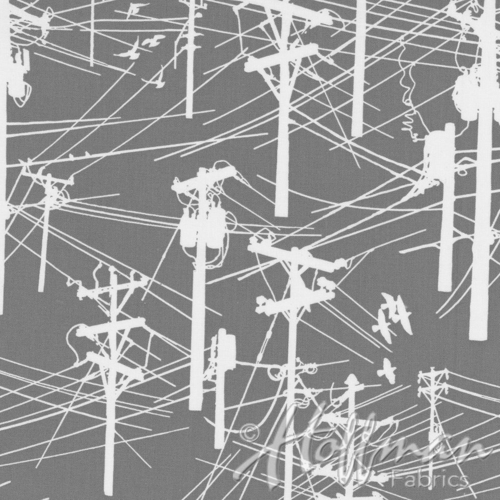 Grafic Power Lines Gravel Fabric P4275-305-GRAVEL Hoffman `