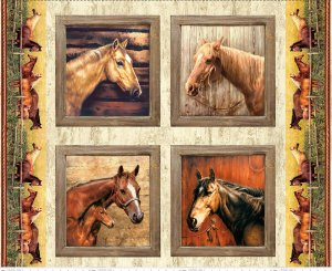 Hold Your Horses - Pillow Panel  ~