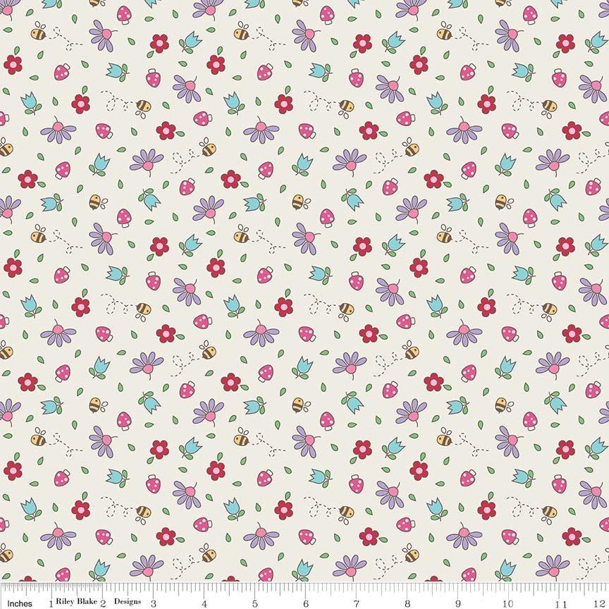 Teddy Bear's Picnic - Floral - Cream