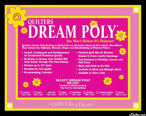 Quilters Dream Polyester Select Black Queen Size 93inx30yd Roll