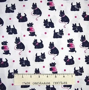 Camelot Pink and Black Scottie dogs on White CAM21542 `