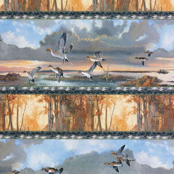 First Light Mallard Duck Hunting Collage Repeating Border Stripe `