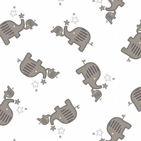 48'' Shannon Fabrics Silver Elephants Double Gauze