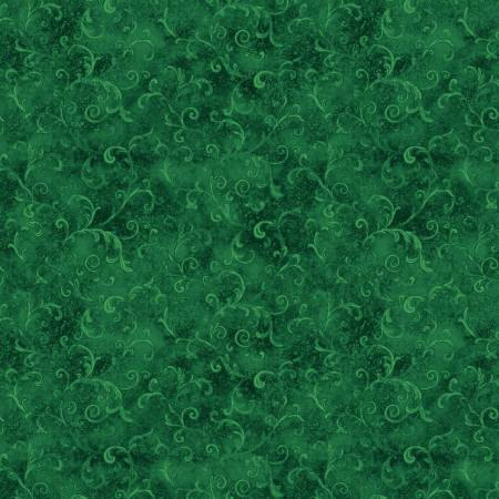 5754-779 108'' Wilmington Prints Dark Green Filigree Flannel