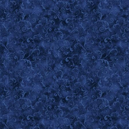 5754-444 108'' Wilmington Prints Dark Blue Filigree Flannel