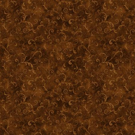 5754-222 108'' Wilmington Prints Brown Filigree Flannel