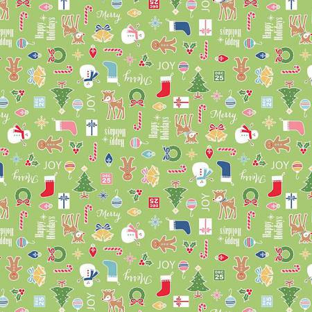 5360R-GREEN 45'' Riley Blake Designs Cozy Christmas Flannel Green Mini Toss