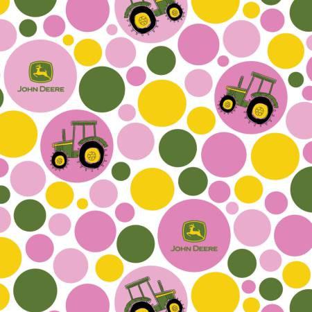 54816C470710 45'' Springs Creative Pink Tractor Polka Dot John Deere Flannel