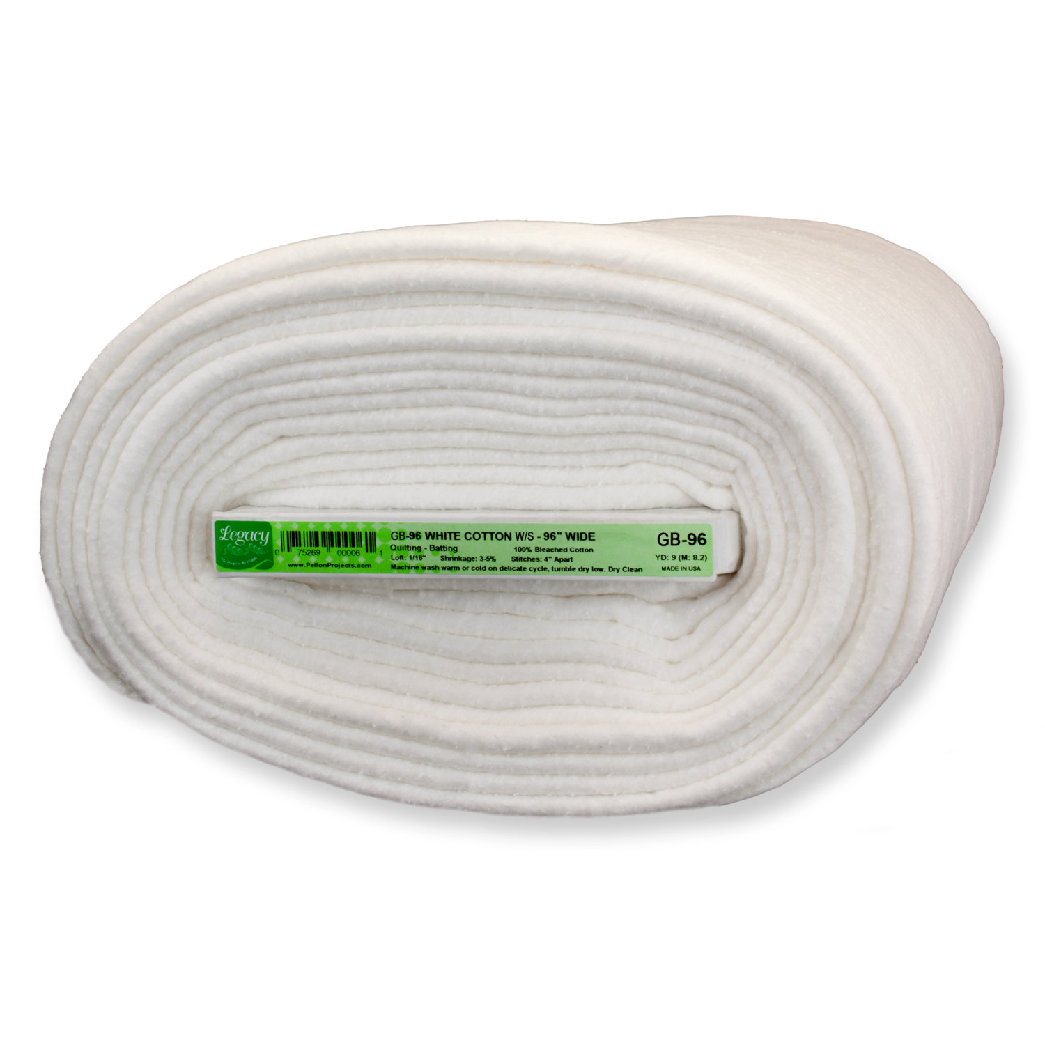 Pellon GB-96 100% Bleached White Cotton Batting with Scrim 9 Yard x 96 Board