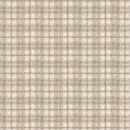 18502-E 45'' Maywood Studios Ecru Plaid Woolies Flannel