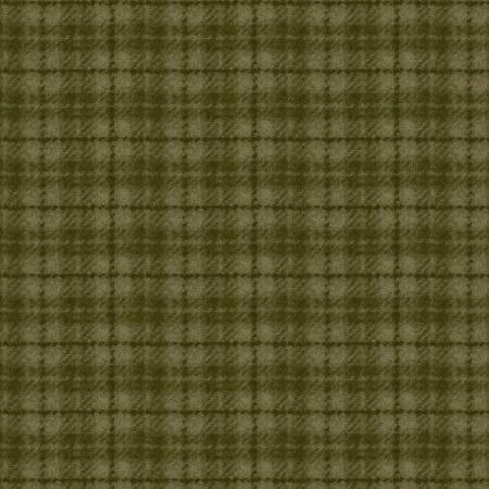 18502-G2 45'' Maywood Studios Olive Green Plaid Woolies Flannel