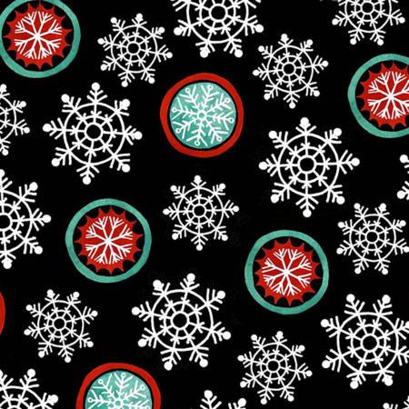 6388-99 45'' Henry Glass and Co. Hello Snow Black Snowflakes Flannel