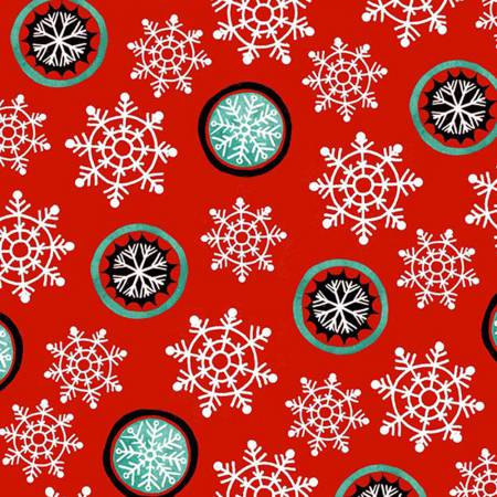 6388-88 45'' Henry Glass and Co. Hello Snow Red Snowflakes Flannel