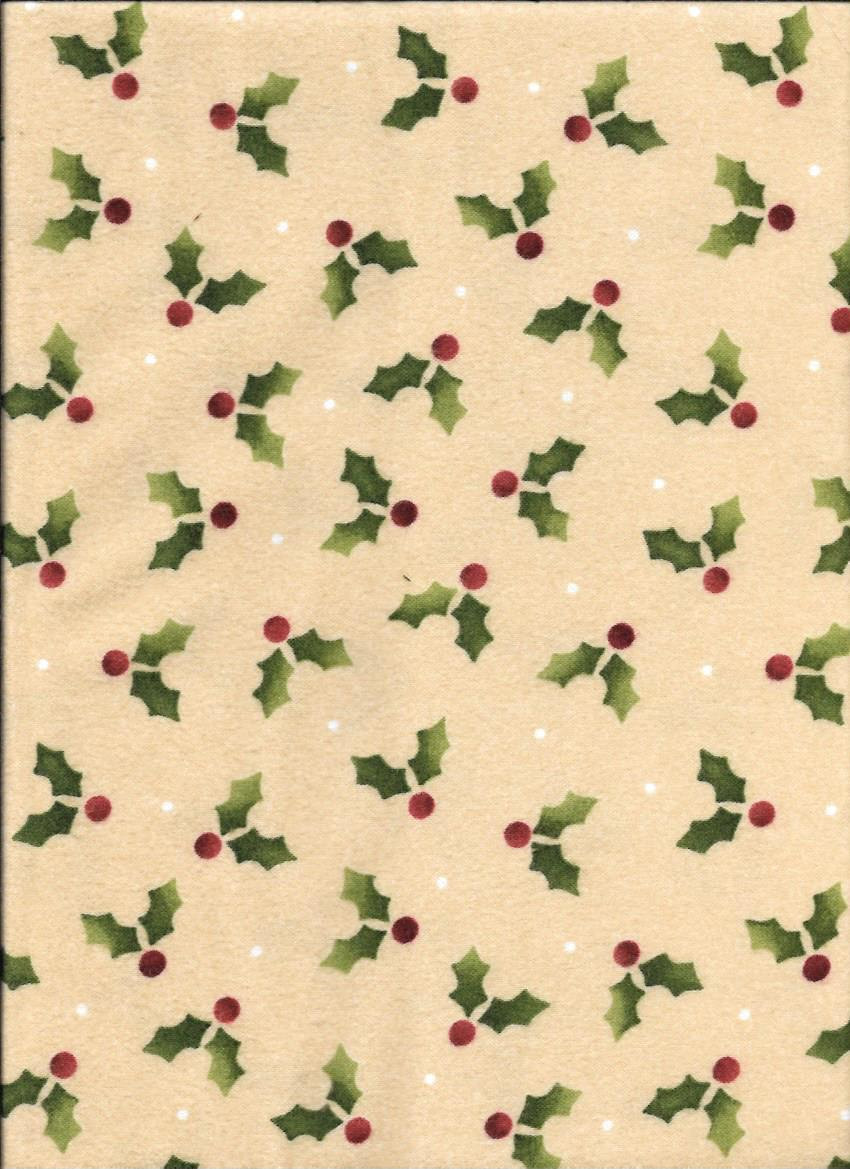 18179-E  45'' Maywood Studios Crazy Christmas Holly Leaves-Flannel