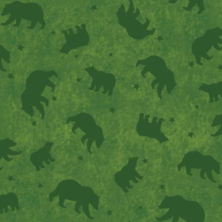 26128-GRE1FXXX 45'' Red Rooster Fabrics Lodge Life Green Bears Flannel