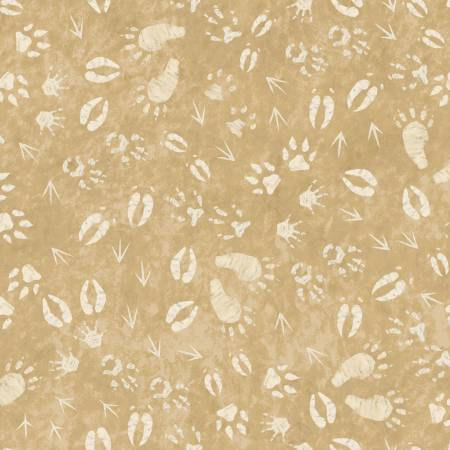 26133-BEI1FXXX 45'' Red Rooster Fabrics Lodge Life Beige Footprints Flannel