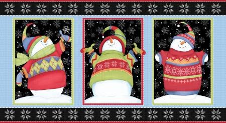 F1314P-99 45'' Henry Glass & Co. Black/Multi Snowman Panel Flannel