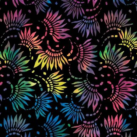 2086-954 108'' Wilmington Prints Black/Multi Petals Wide Backing