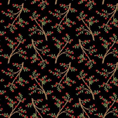 F5712S-98 45'' Studio E Black Sprigs Flannel
