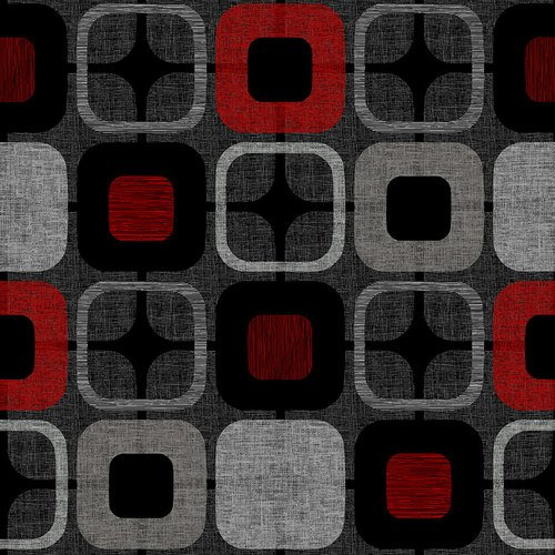 9986-88 108'' Blank Quilting Black/Red Geo-Squared