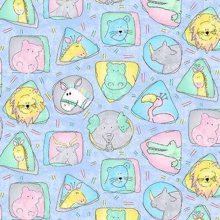 220-0207-473 45'' Epic Farics Sky Blue Animals Faces on Flannel