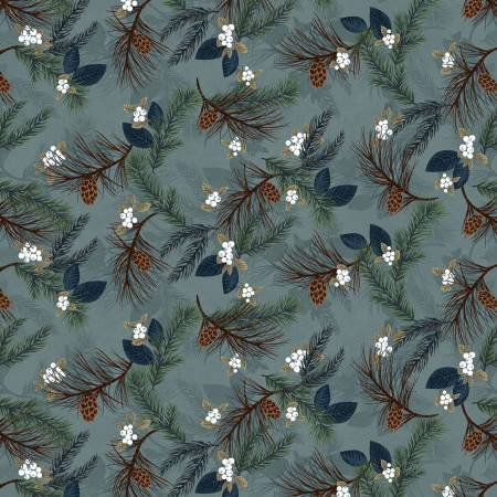 2580F-17 45'' Henry Glass & Co. Light Blue Pine Boughs Flannel