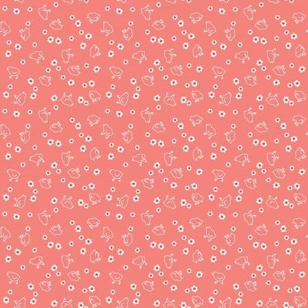 WB6423R-CORA 108'' Riley Blake Designs Coral Chicks Wide Backing by Lori Holt