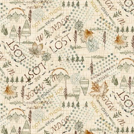 2581F-33 45'' Henry Glass & Co. Cream Mixed Media Wander Flannel