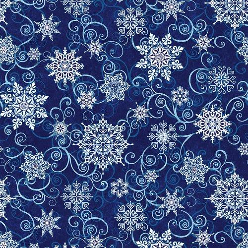 5732-77 108'' Studio E Deep Blue Falling Snowflakes Wide backing