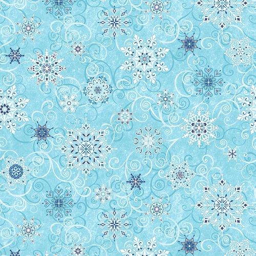 5732-11 108'' Studio E Frosty Blue Falling Snowflakes Wide Backing