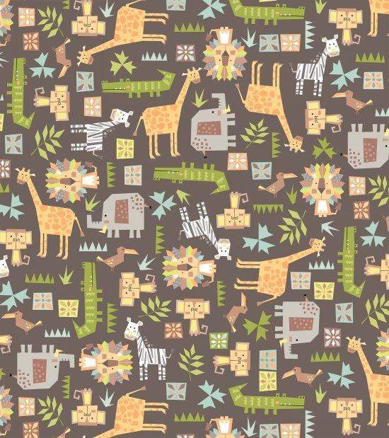 9163F-95 45'' Blank Quilting Gray Multi Animal Safari Shuffle Flannel