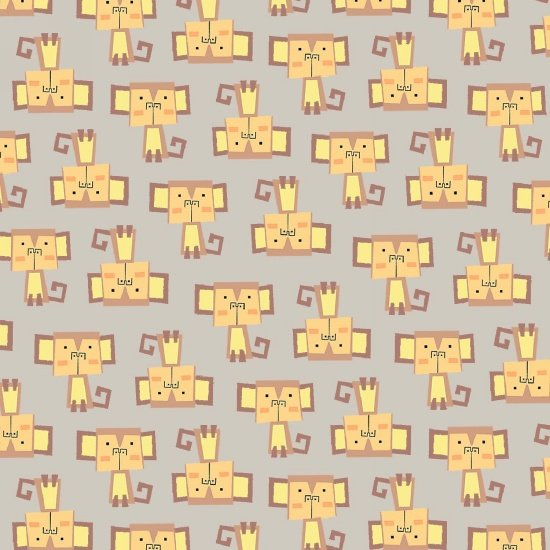 9166F-90 45'' Blank Quilting Gray Mini Monkeys Flannel
