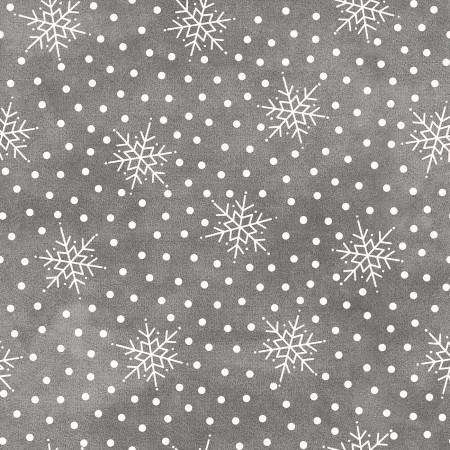 F9215M-K 45'' Maywood Studios Grey Falling Snow Flannel