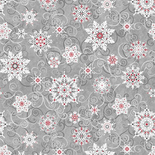 5732-98 108'' Studio E Gray/Red Falling Snowflakes Wide Backing