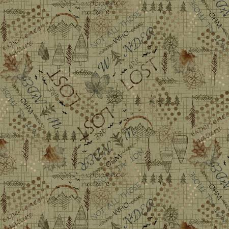 2581F-66 45'' Henry Glass & Co. Green Mixed Media Wander Flannel