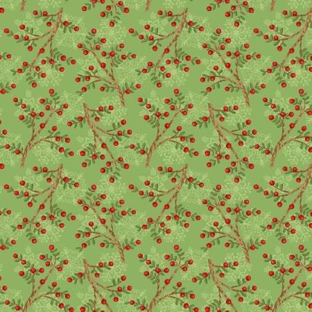 F5712S-68 45'' Studio E Green Sprigs Flannel