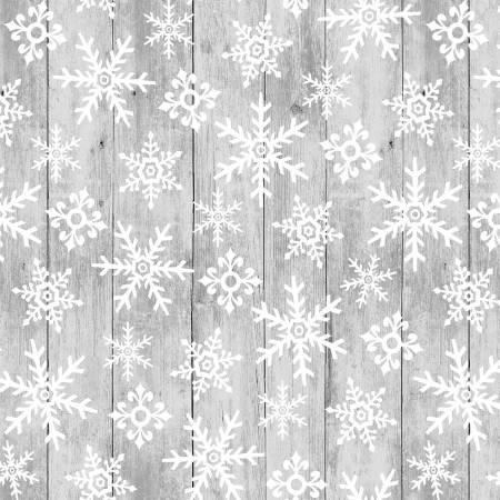 F5702S-90 45'' Studio E Grey Snowflakes Flannel