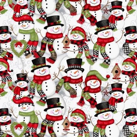 F5703S-09 45'' Studio E Multi Snowman Flannel