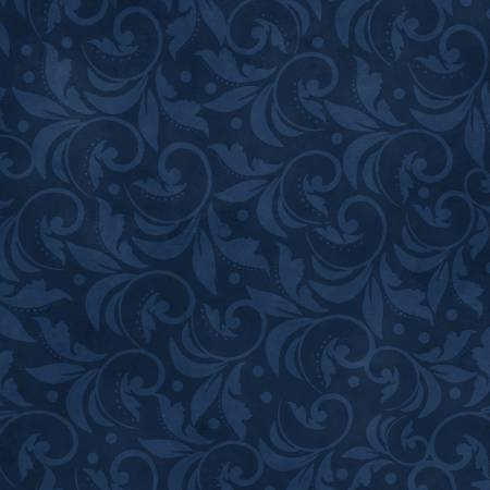 2029-444 108'' Wilmington Prints Navy Vintage Scroll Wide Backing