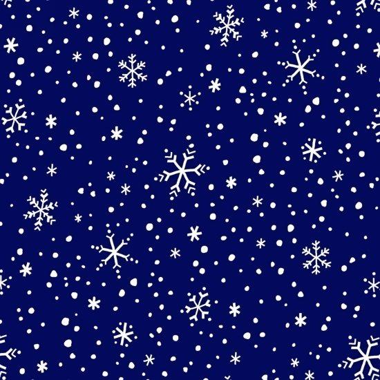 F3300-77 45'' Studio E North Pole Greetings Navy Snowflake Flannel