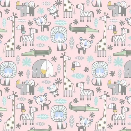 10442FB-21 45'' Benartex Pink Baby's Snuggle in t he Jungle Flannel