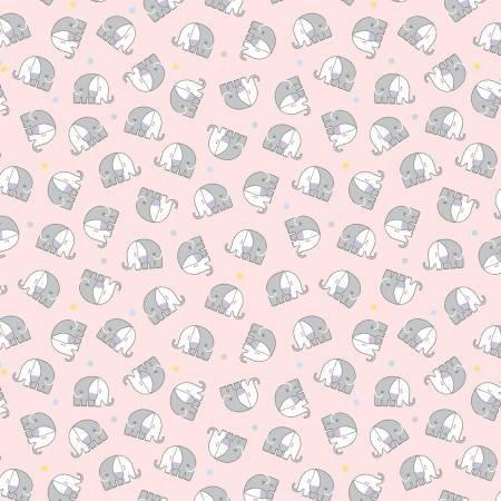 10445FB-21 45'' Benartex Pink Baby Elephants Flannel