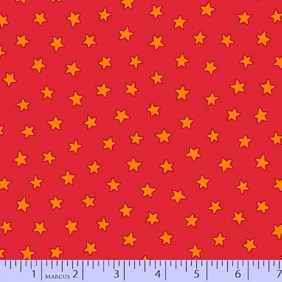 R10-9786-0257 45'' Marcus Fabrics Red Stars Pete the Cat Flannel