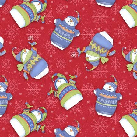 F1320-88 45'' Henry Glass & Co. Red Tossed Snowman Flannel