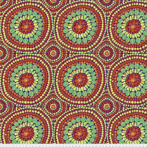 QBGP003.2REDX 108'' Free Spirit Red Fruit Mandala Wide Backing by Kaffee Fassett